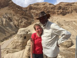 Jodi Magness and Morgan Freeman at Qumran, the site of the Dead Sea Scrolls