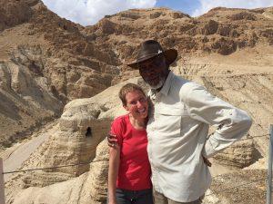 Jodi Magness and Morgan Freeman at Qumran, the site of the Dead Sea Scrolls